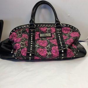 Betsey Johnson Duffle Bag Pink/ Black Skulls